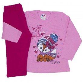 conjunto de moletom blusa rosa bebe e calca pink 355