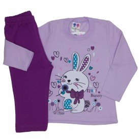 conjunto blusa de moletom coelhinho lilas e calca uva 354