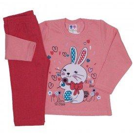 conjunto blusa de moletom coelhinho coral e calca laranja 354