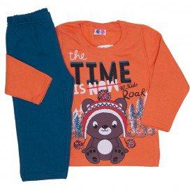 conjunto de moletom blusa laranja e calca petroleo 366