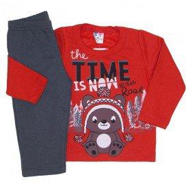 conjunto de moletom blusa vermelha e calca chumbo 366
