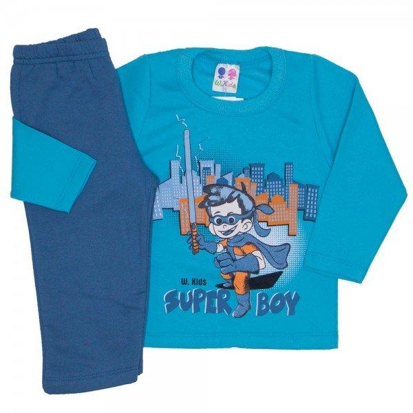 conjunto de moletom blusa verde e calca azul jeans 362