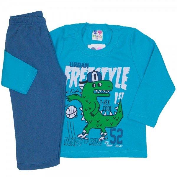 a57ddc04b Conjunto de Moletom Blusa Verde e Calça Azul Jeans 365