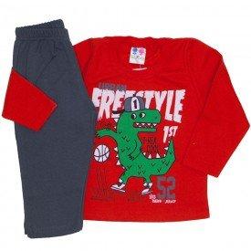 conjunto de moletom blusa vermelha e calca chumbo 365