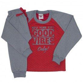 conjunto blusa e calca de moletom vermelho 3674