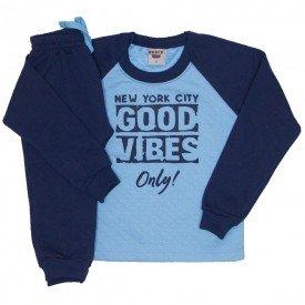 conjunto blusa e calca de moletom azul ceu 3674