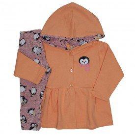 conjunto casaco de moletom salmao legging 3613