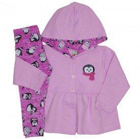 conjunto casaco de moletom rosa e legging 3613