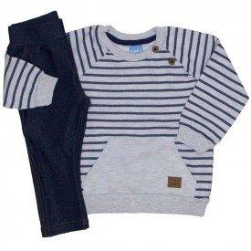 conjunto blusa moletom mescla listrada calca cotton jeans 4045