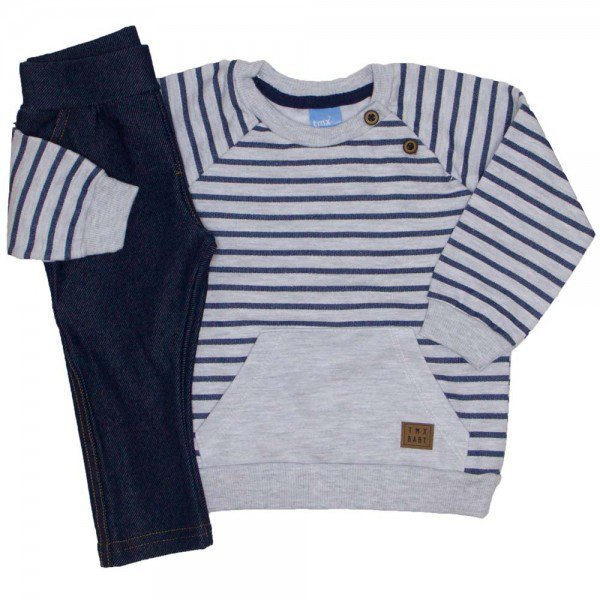 accd7854b84bf9 Conjunto Blusa Moletom Mescla Listrada calça cotton jeans 4045
