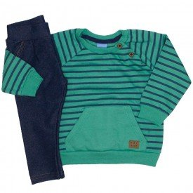 conjunto blusa moletom verde listrada calca cotton jeans 4045
