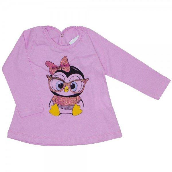 blusa meia malha rosa pinguim 3606