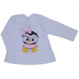 blusa meia malha branca pinguim 3606