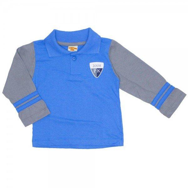 camisa polo manga longa azul bebe 3666