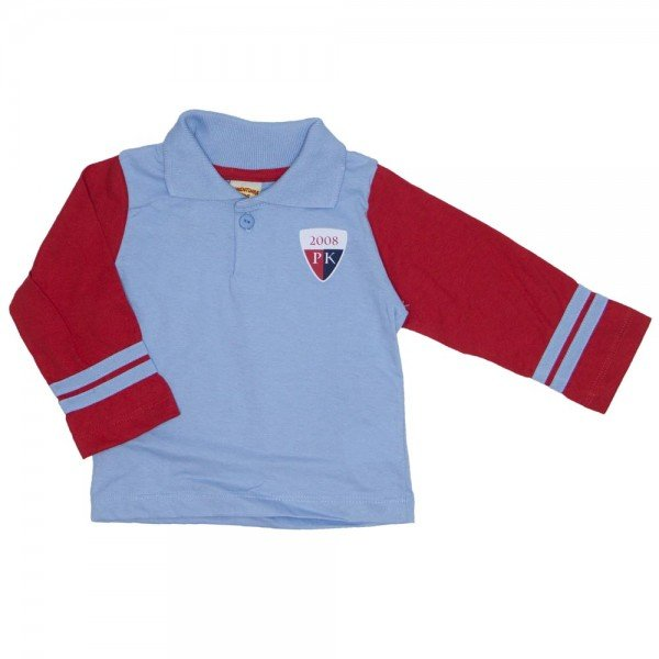 camisa polo de meia malha azul 3666