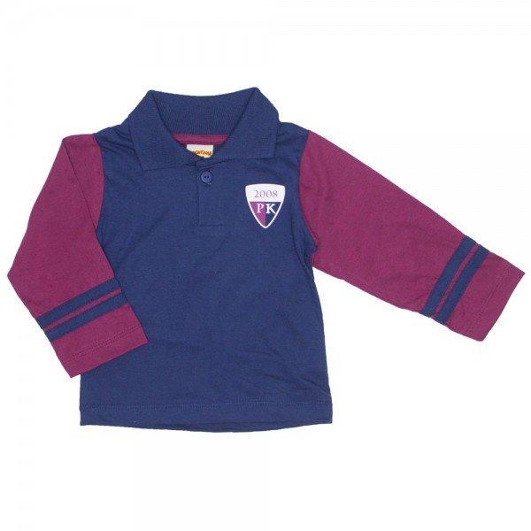 599e0fc37d Camisa Polo Manga Longa Azul Marinho 3666