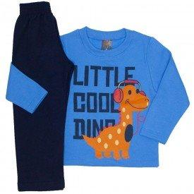 conjunto moletom blusa azul medio little cool dino e calca marinho 526