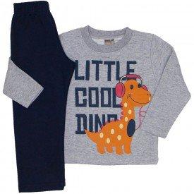 conjunto moletom blusa mescla little cool dino e calca marinho 526