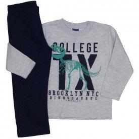 conjunto blusa moletom collegue tx mescla e marinho 5272