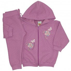 conjunto jaqueta matelasse com capuz rosa boca 3602