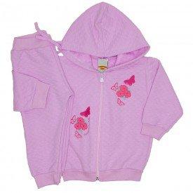 conjunto jaqueta matelasse com capuz rosa bebe 3602