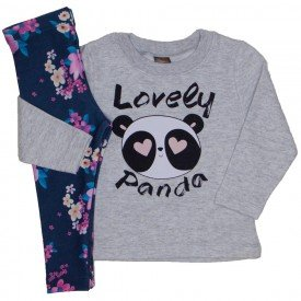 conjunto lovely panda cinza mescla e azul floral 153