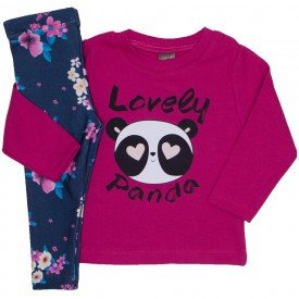 conjunto lovely panda pink e azul floral 153