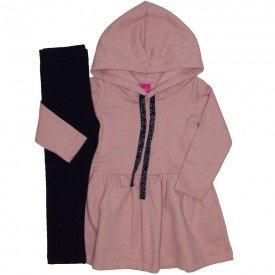conjunto vestido botone rosa cha e legging preta 1172