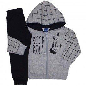 conjunto jaqueta moletom rockroll cinza mescla e preto 5276