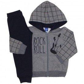 conjunto jaqueta moletom rockroll mescla grafite e preto 5276