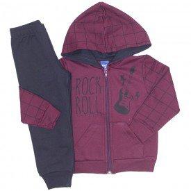 conjunto jaqueta moletom rockroll mescla vinho e preto 5276