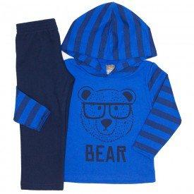 conjunto blusa bear listrada azul royal e calca marinho 525