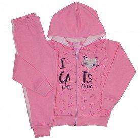 conjunto moletom love cats rosa 9519