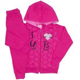 conjunto moletom love cats pink 9519