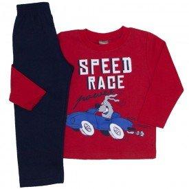 conjunto moletom blusa vermelha speed race e calca marinho 527