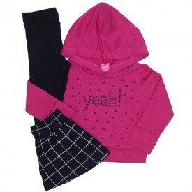 conjunto 3 pecas blusa moletom pink saia e legging preta 1169