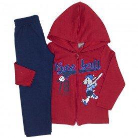 conjunto jaqueta baseball vermelha e calca marinho 523