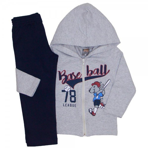 conjunto jaqueta baseball mescla e calca marinho 523