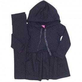 conjunto vestido botone preto e legging 1172
