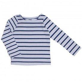 blusa de cotton listrada branco e azul marinho 1181