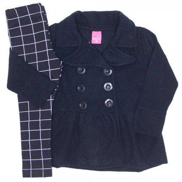 conjunto casaco microsoft preto e legging xadrez 1167