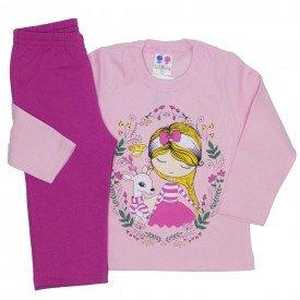 conjunto de moletom blusa rosa bebe e calca pink 353