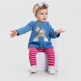 conjunto moletom azul candy e legging pink listrada 152005