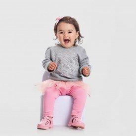 conjunto blusao mescla e legging com saia tutu rosa 152002