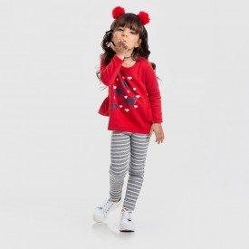 conjunto blusao dinos legging ribana listrada vermelho 154002