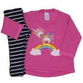 conjunto moletom pink e legging preta listrada 15 2005