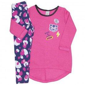 conjunto vestido moletom peluciado legging cotton pink 15 4005