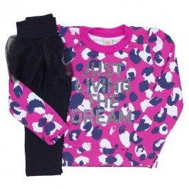 conjunto blusao legging com saia de tutu pink 15 4006