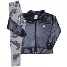 conjunto jaqueta bomber preta e legging tigre 15 4003