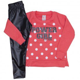 conjunto blusao power girl poa e legging de couro 15 4004